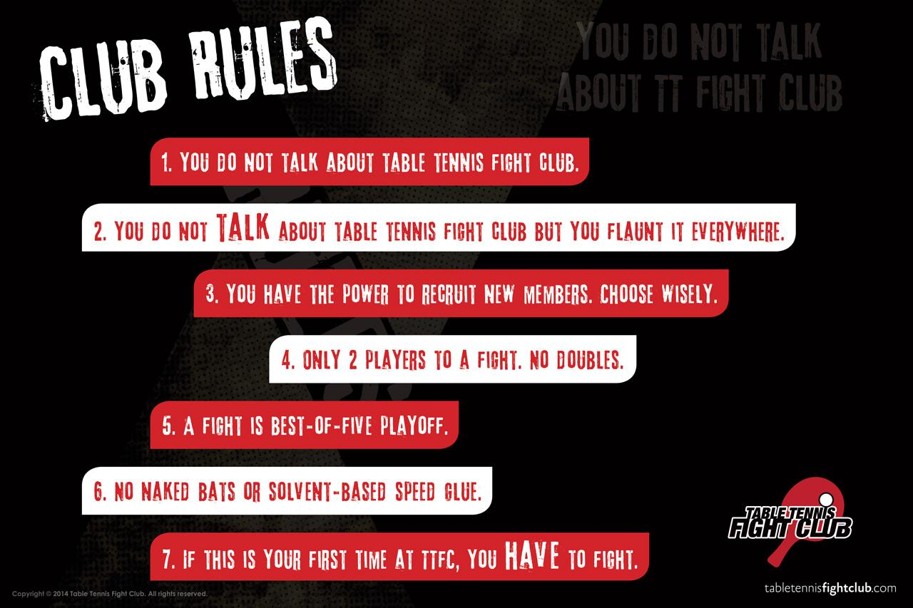 Table Tennis Fight Club Rules